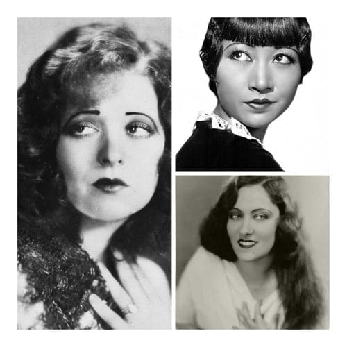Black and white collage image of 20s actresses Clara Bow, Anna May Wong and Gloria Swanson.