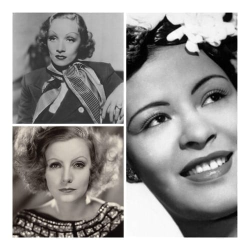 Black and white collage image of 30s actresses Marlene Dietrich and Greta Garbo, and musician Billie Holiday.