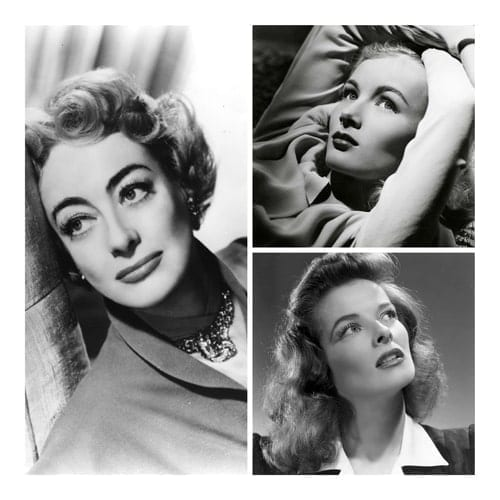 Black and white collage image of 40s actresses Joan Crawford, Veronica Lake and Katherine Hepburn.