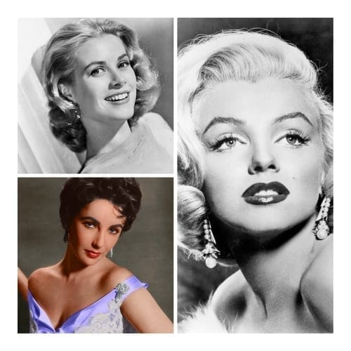 A collage image of 50s actresses Grace Kelly, Elizabeth Taylor and Marilyn Monroe.