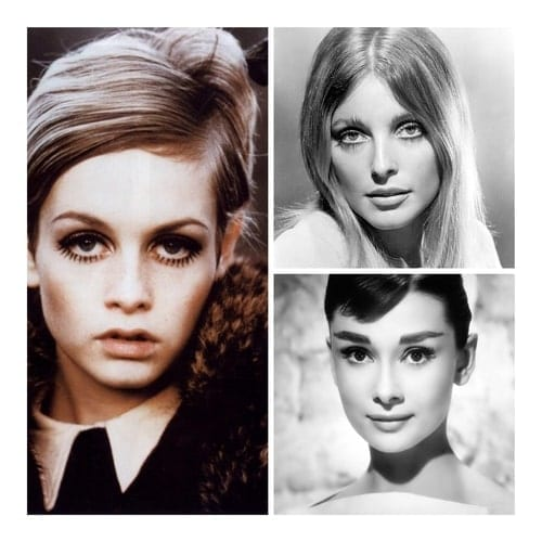 A collage image of 60s supermodel Twiggy and actresses Sharon Tate and Audrey Hepburn.