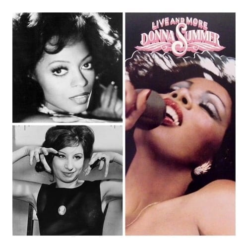 A collage image of 70s singers Diana Ross and Donna Summer, and actress Barbra Streisand.