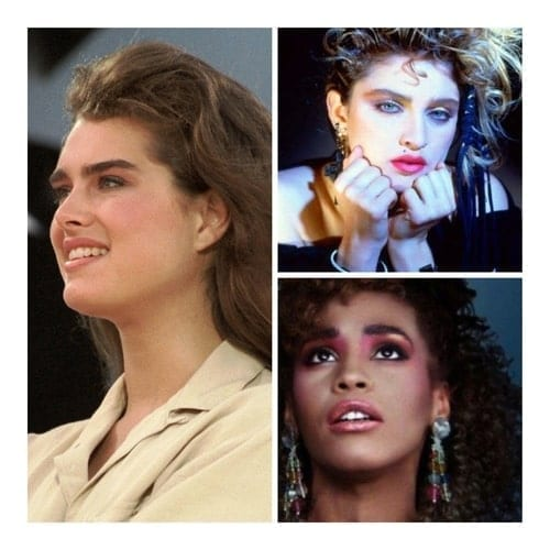 A collage image of actress Brooke Shields and singers Madonna and Whitney Houston.
