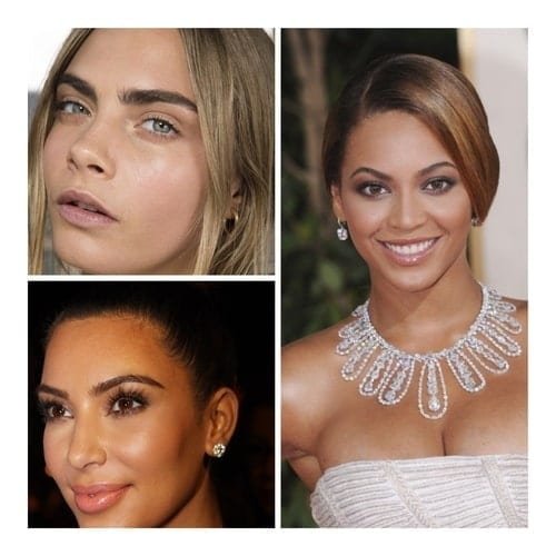 A collage image of model Cara Delevigne, singer Beyonce and reality star Kim Kardashian.